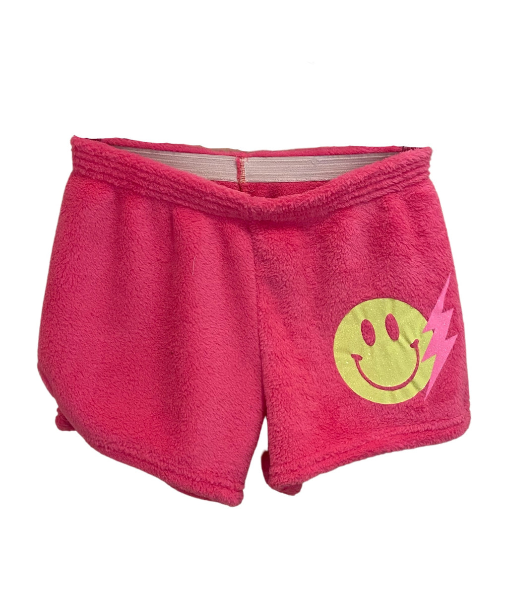 Made with Love and Kisses Girls Neon Pink Smiley Bolt Shorts