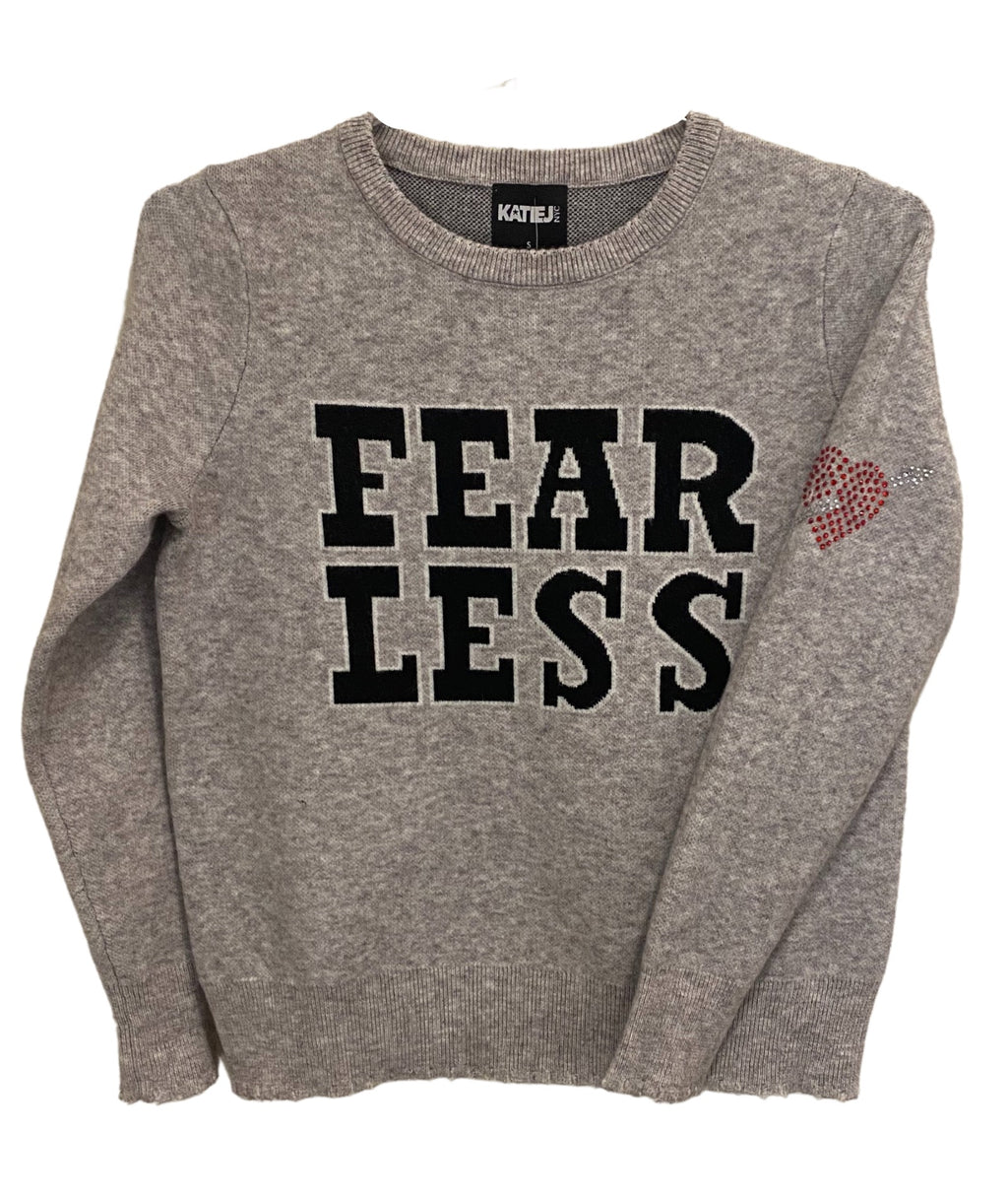 Katie J NYC Girls Fearless Grey Sweater With Navy Lettering