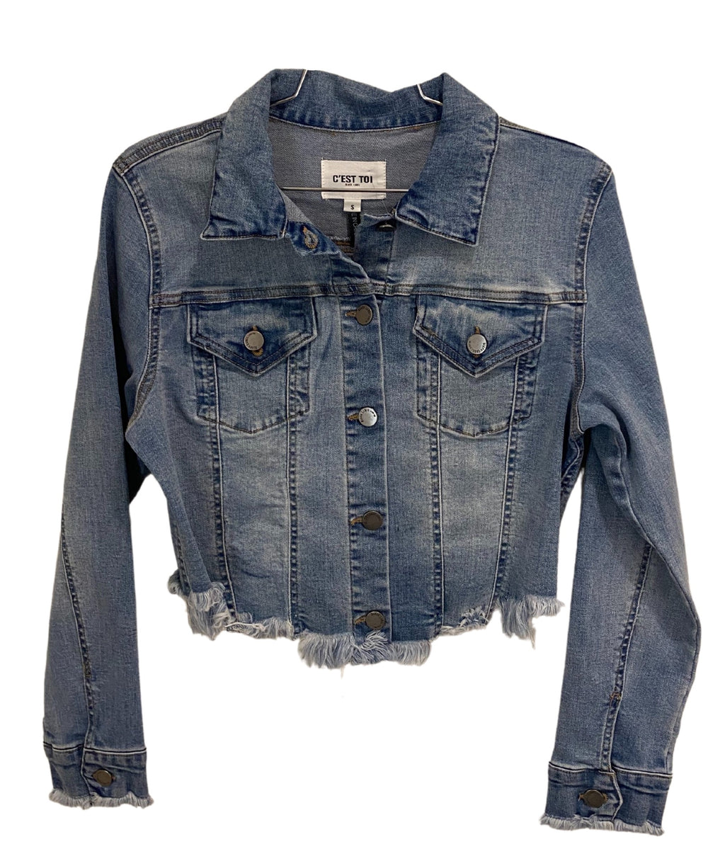 Kourtney Raw Cut Denim Jacket Light Wash Women