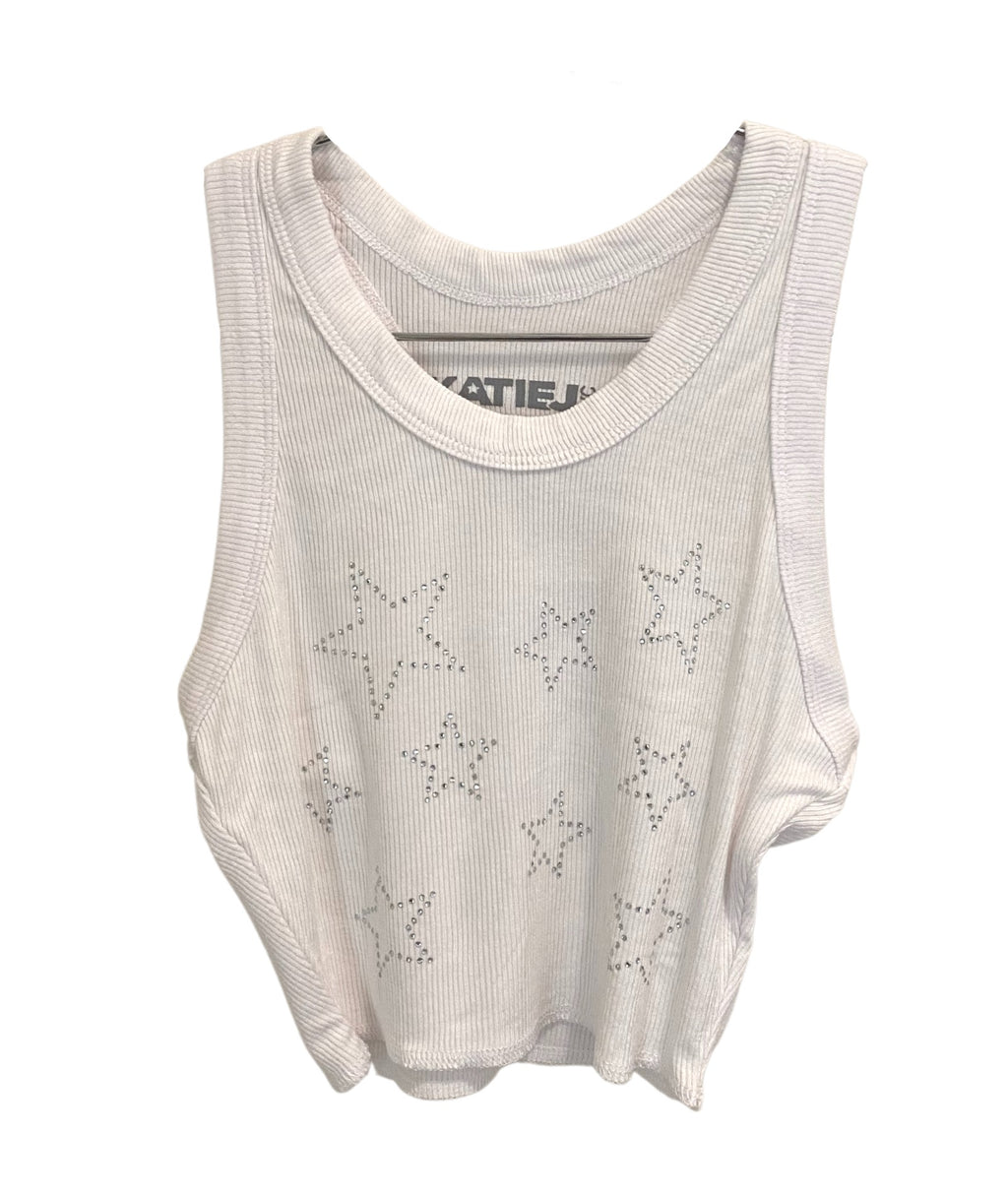 Katie J NYC Girls Livi White With Stars Crop Top