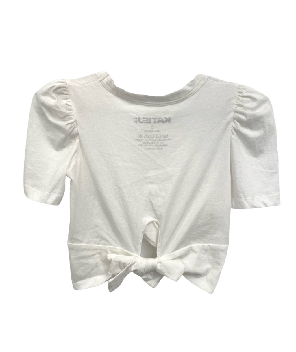 Katie J NYC Girls Paige White Puff Sleeve Tie Back Crop Top