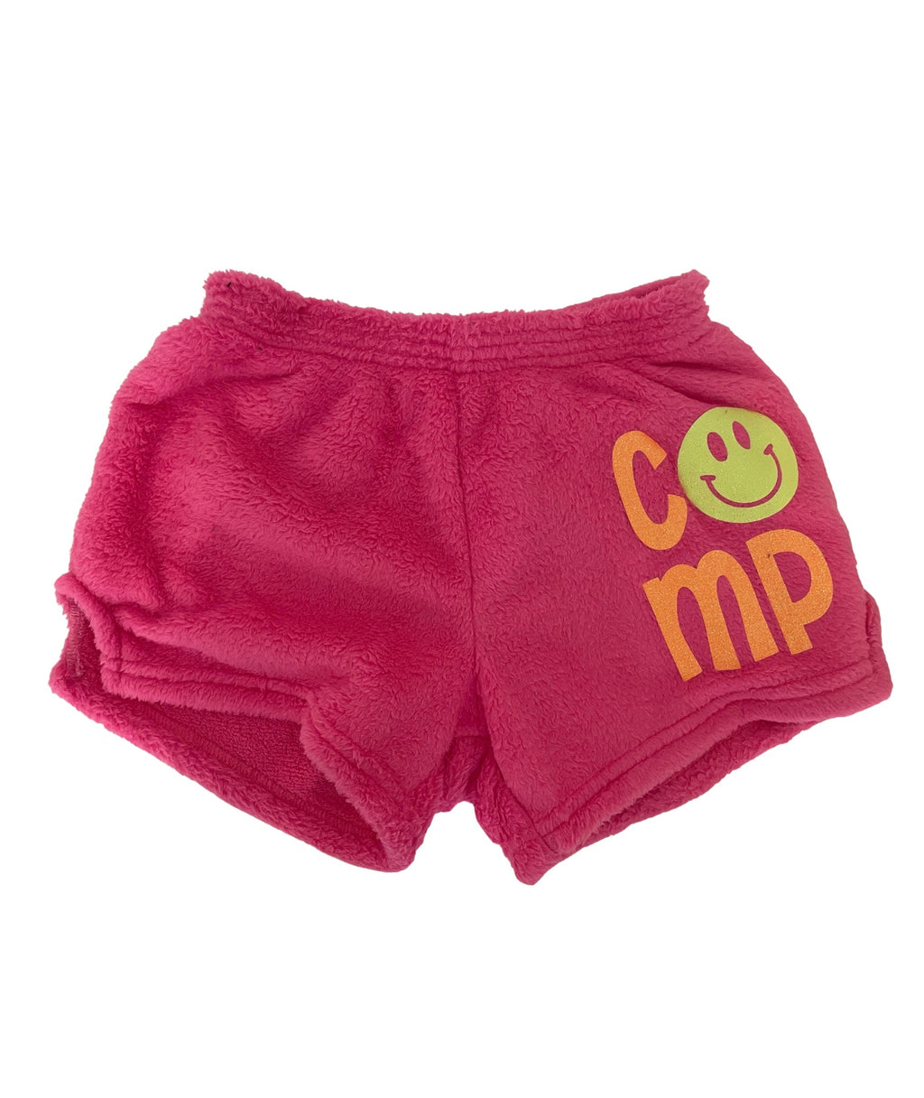 Made with Love and Kisses Girls Neon Pink Camp Smile Shorts