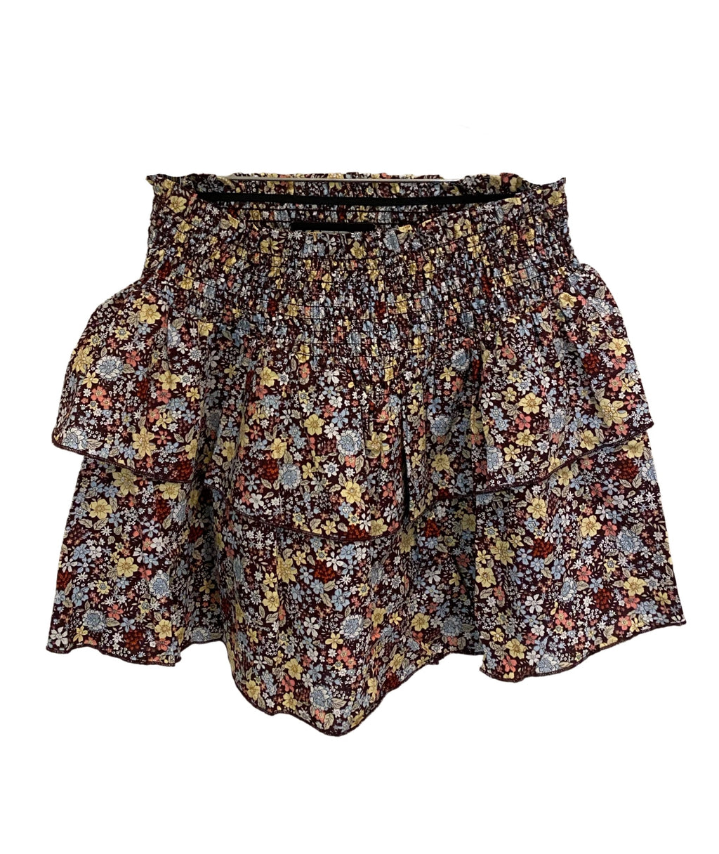 Katie J NYC Juniors Brooke Brown Floral Skirt