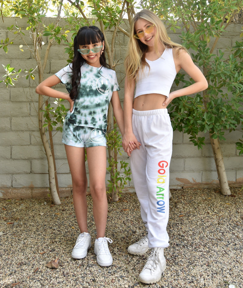 Green Tie Dye Short Sleeve Tee With Small White Camp Smiley Girls