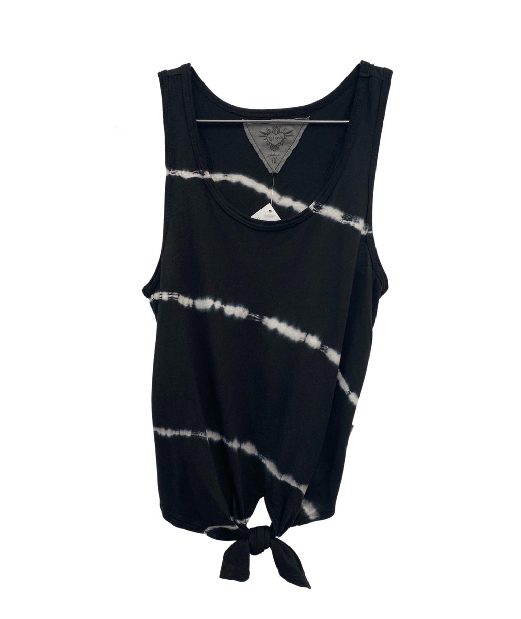 T2 Love Girls Tie Dye Tie Front Tank Black/White