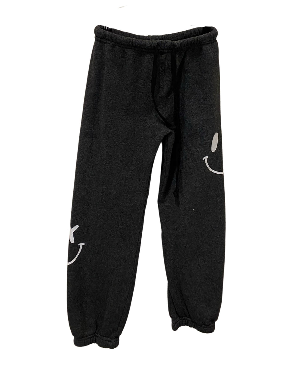 Love Junkie Girls Supersoft White Smile Sweatpants Charcoal