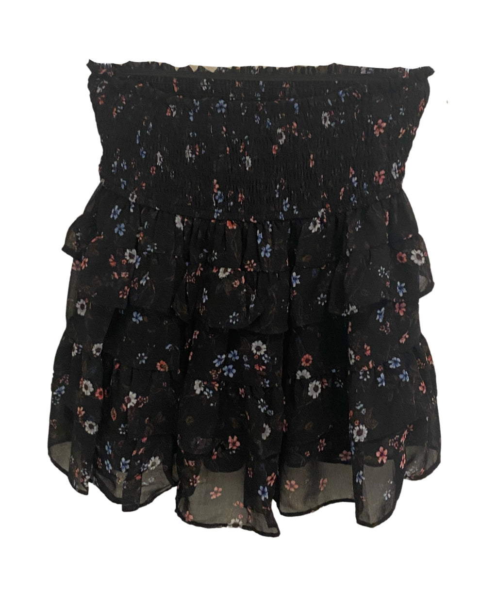 Callie Black Ditsy Floral Smock Skirt Women