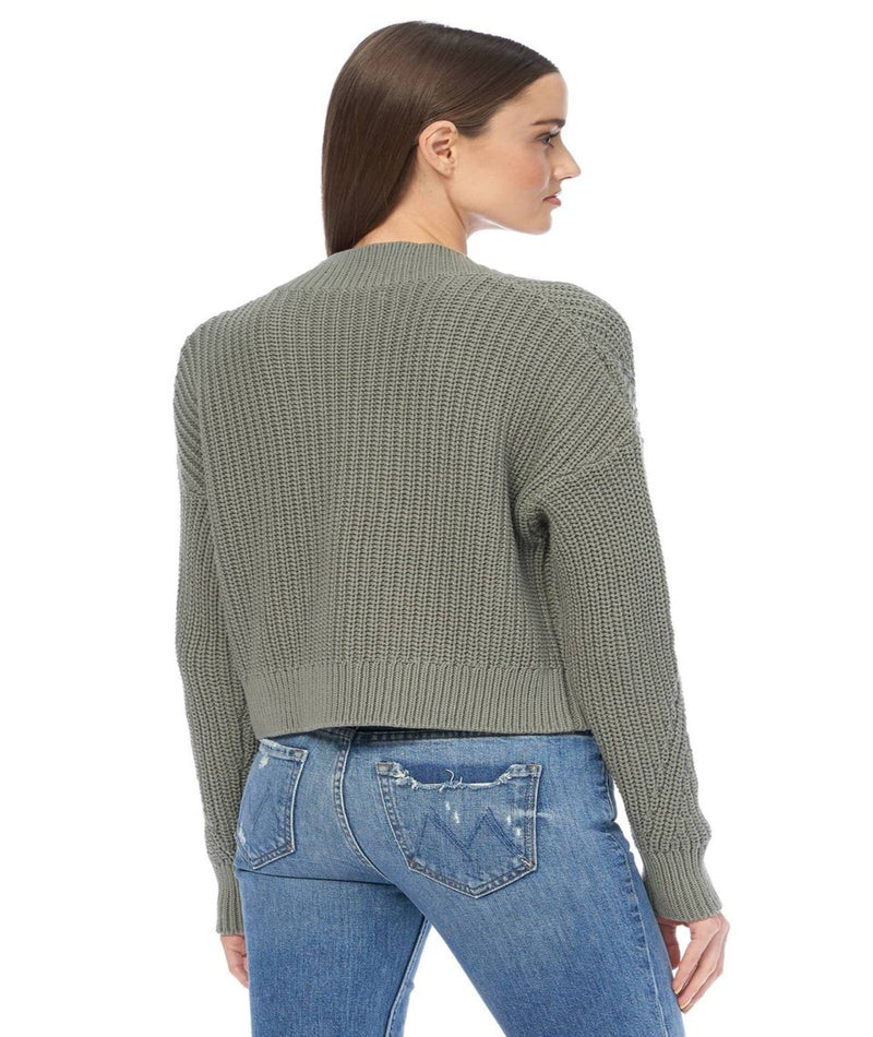 360 Cashmere Lisette Button Crop Sage Cardigan
