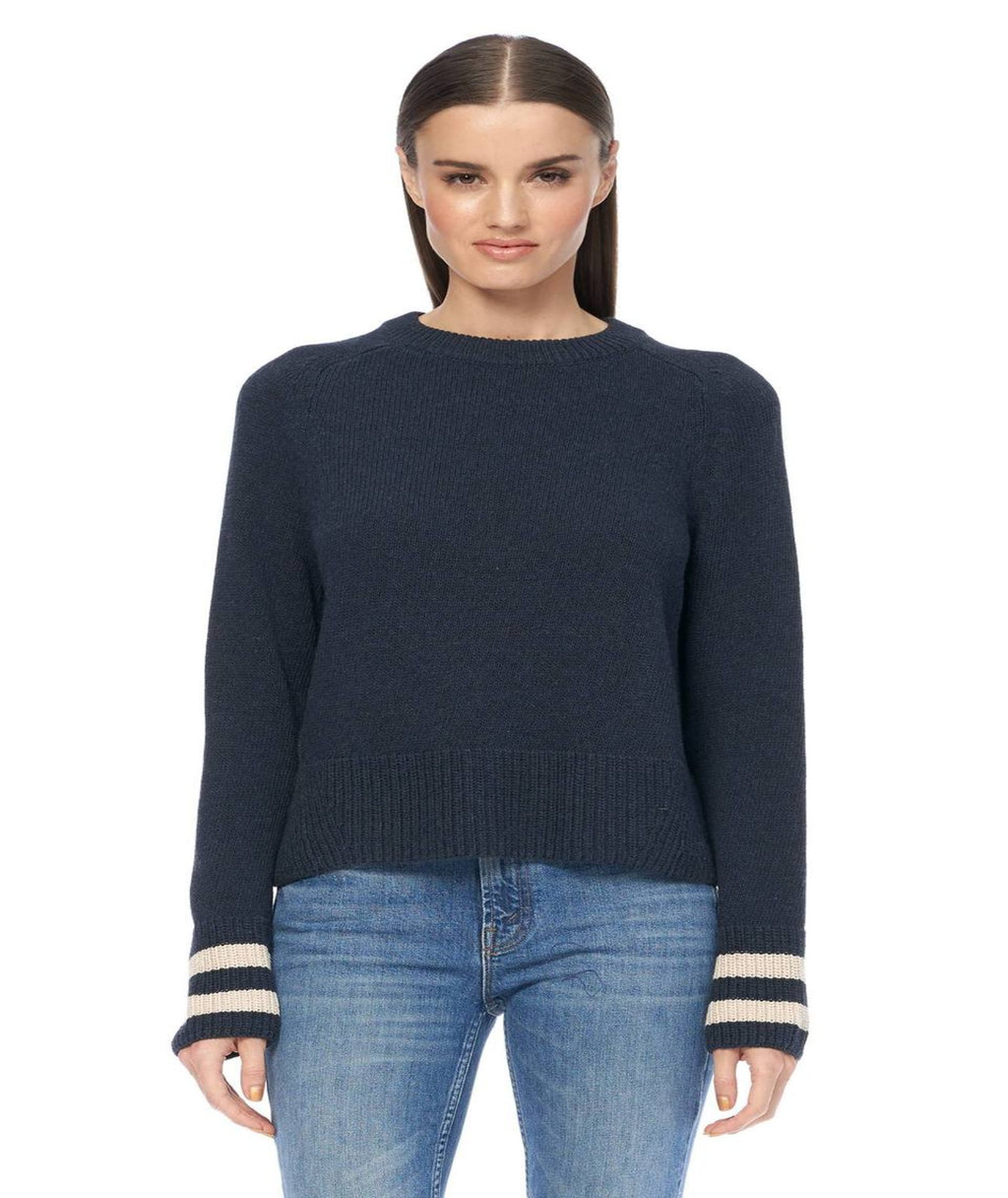 360 Cashmere Midnight Tallulah Pullover Sweater With Khaki Sleeve Stripe