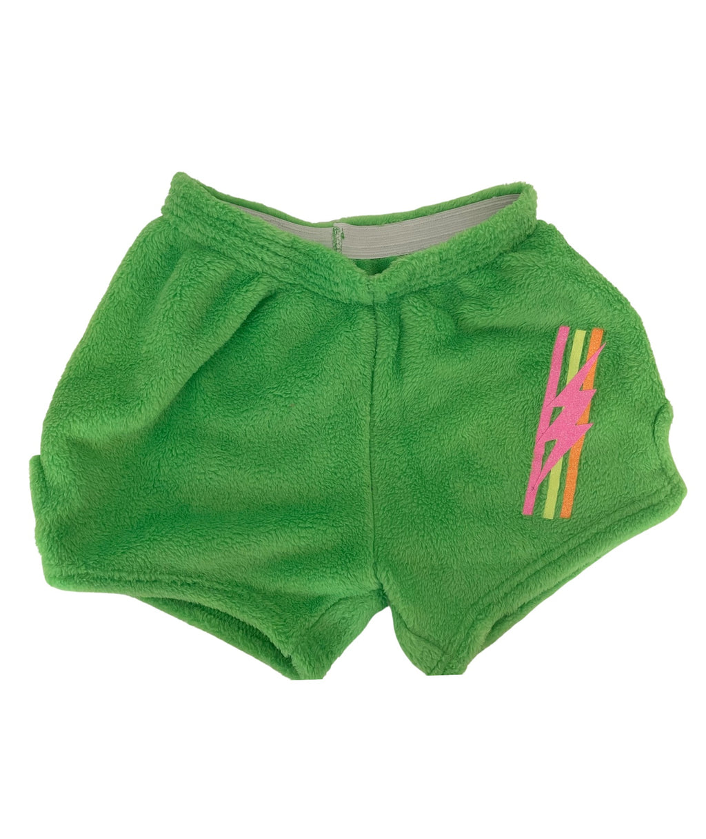 Made with Love and Kisses Girls Neon Green Bolt Stripe Shorts