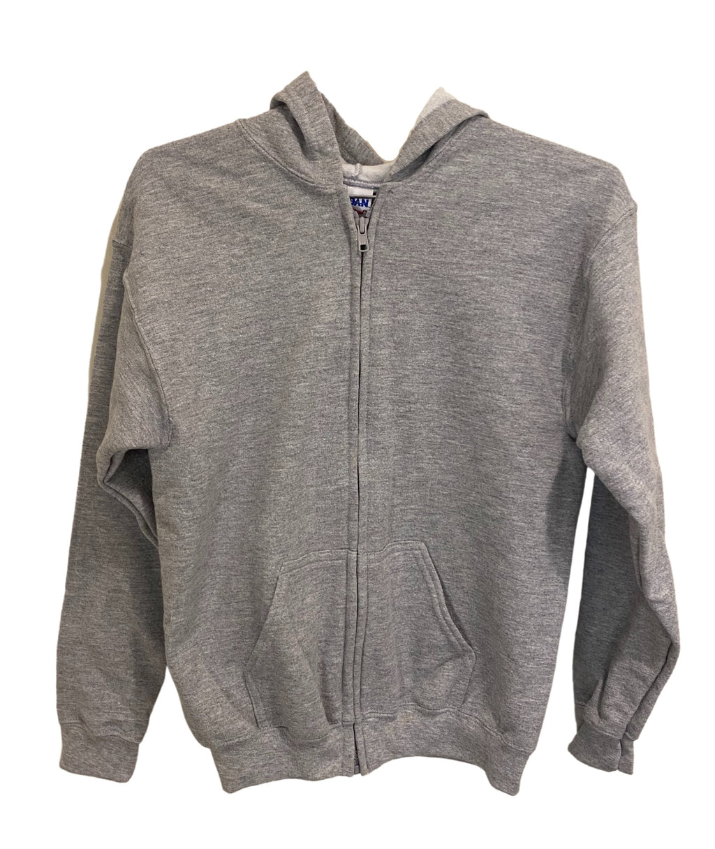 Gildan White Lightning Bolt Zip Hoodie Dark Grey
