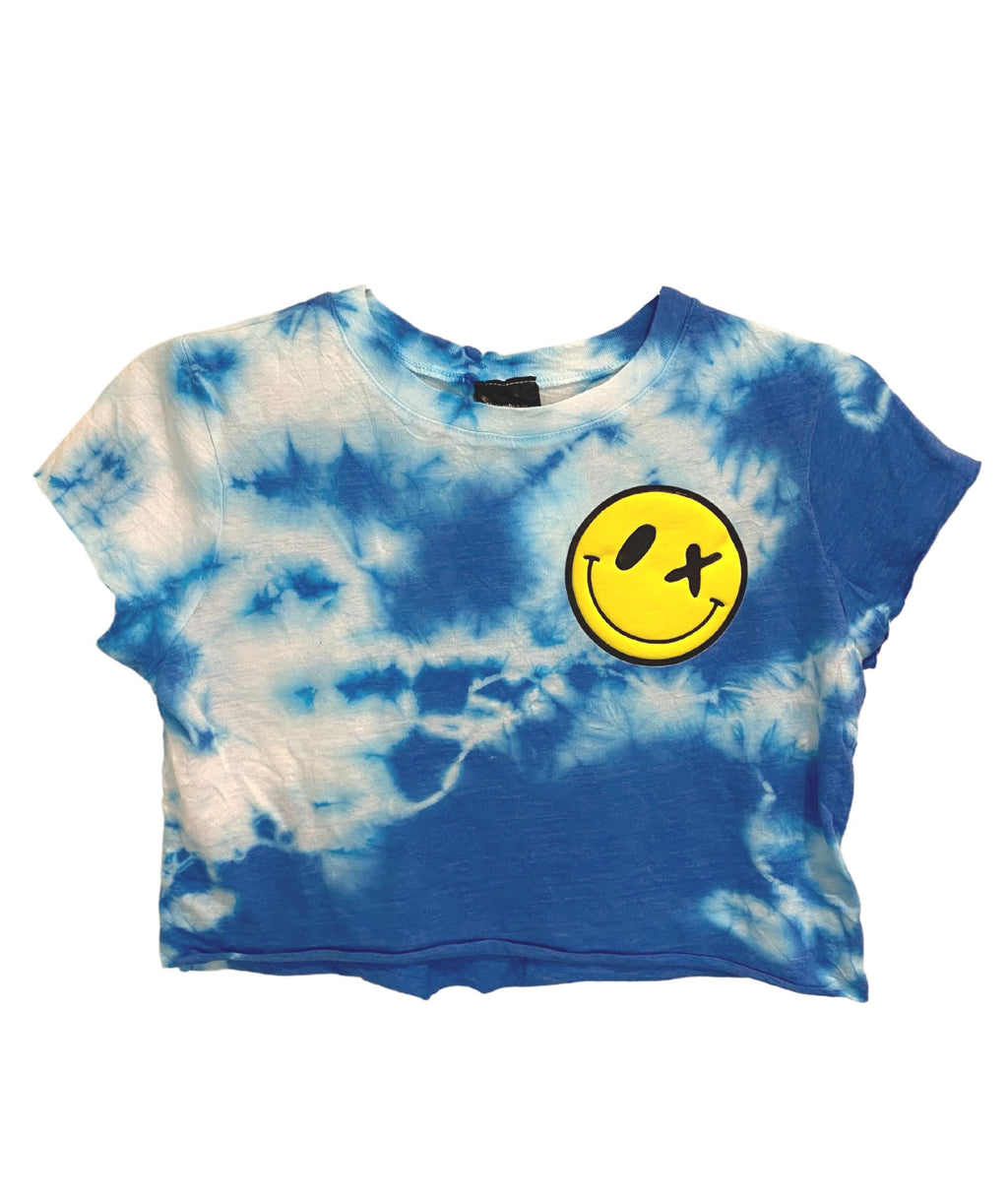 Love Junkie Girls Malibu Tie Dye Crop Tee Puff Smile