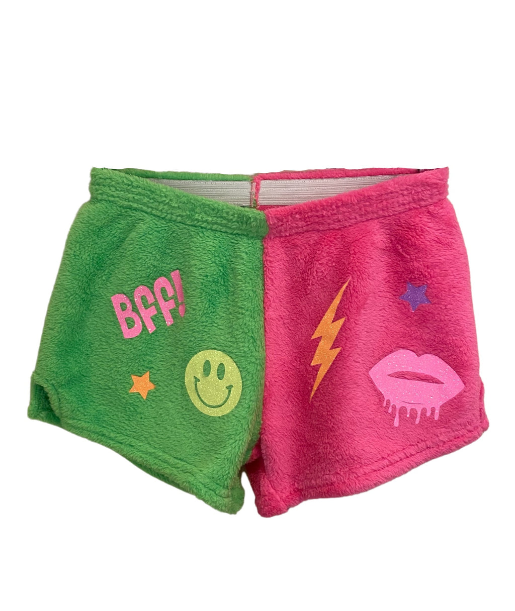Made with Love and Kisses Girls Neon Pink/Green Fun Stuff Shorts