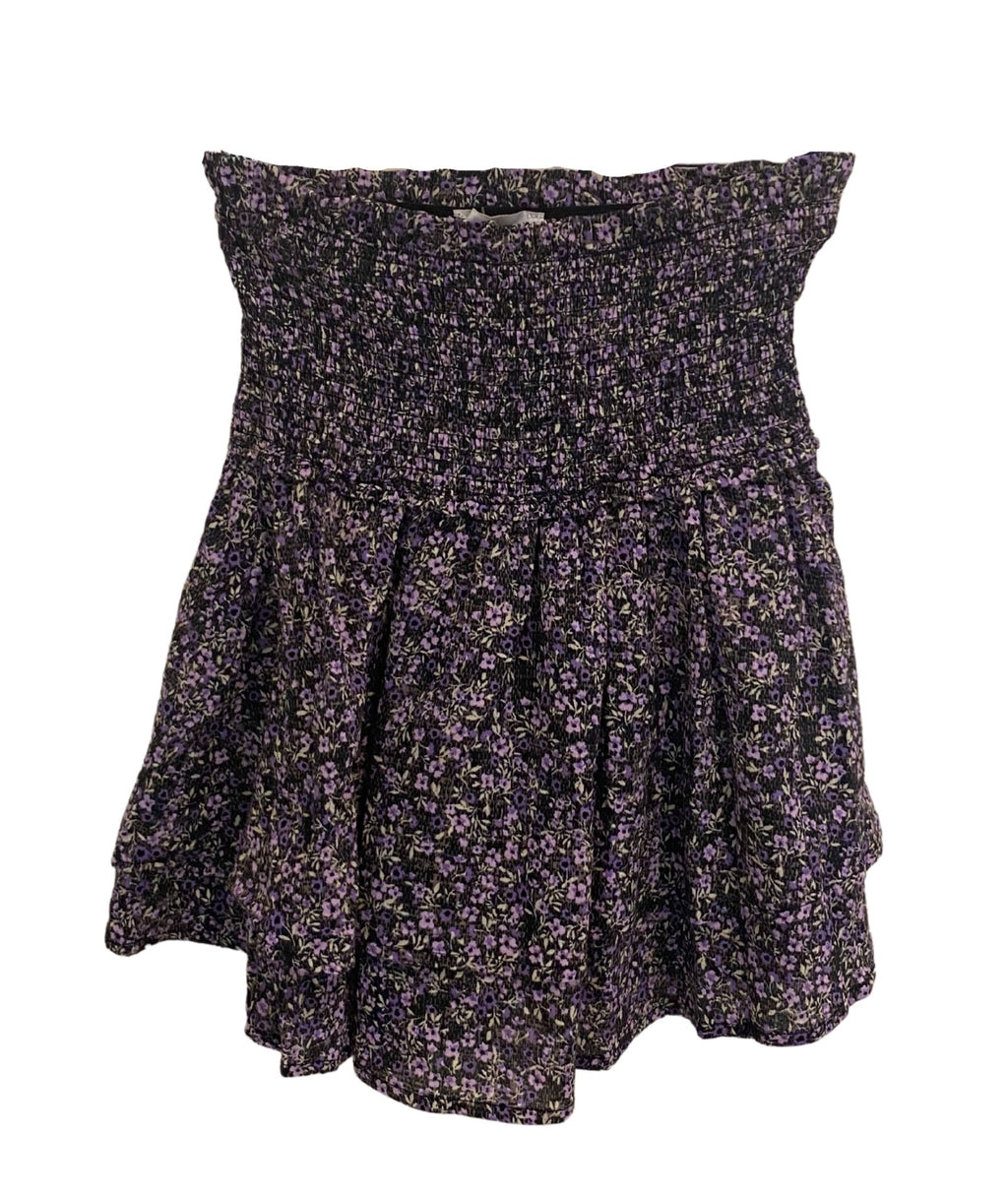 Hannah Purple Floral Smock Skirt Women