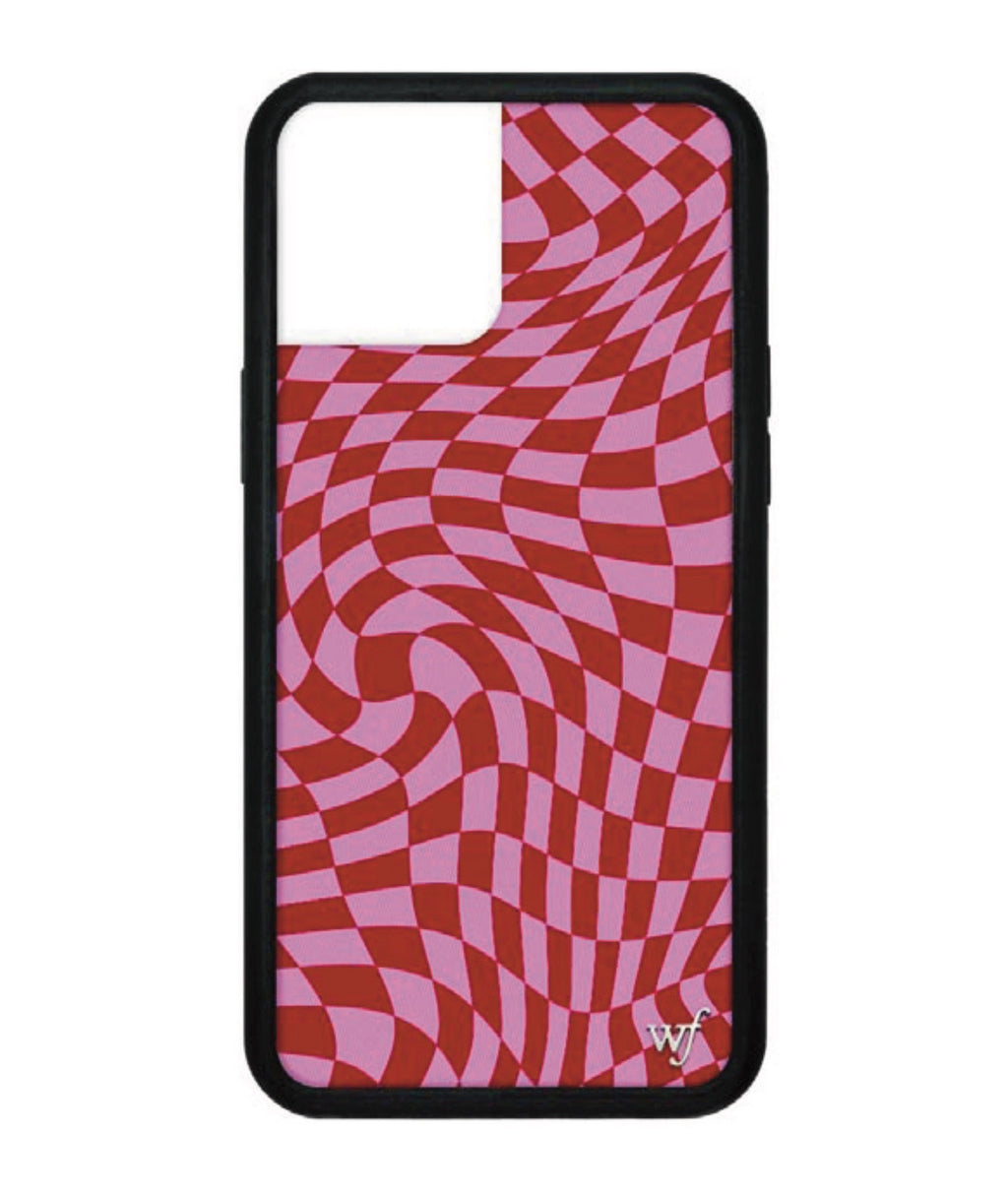 Wildflower Phone Case Pink Crazy Checkers