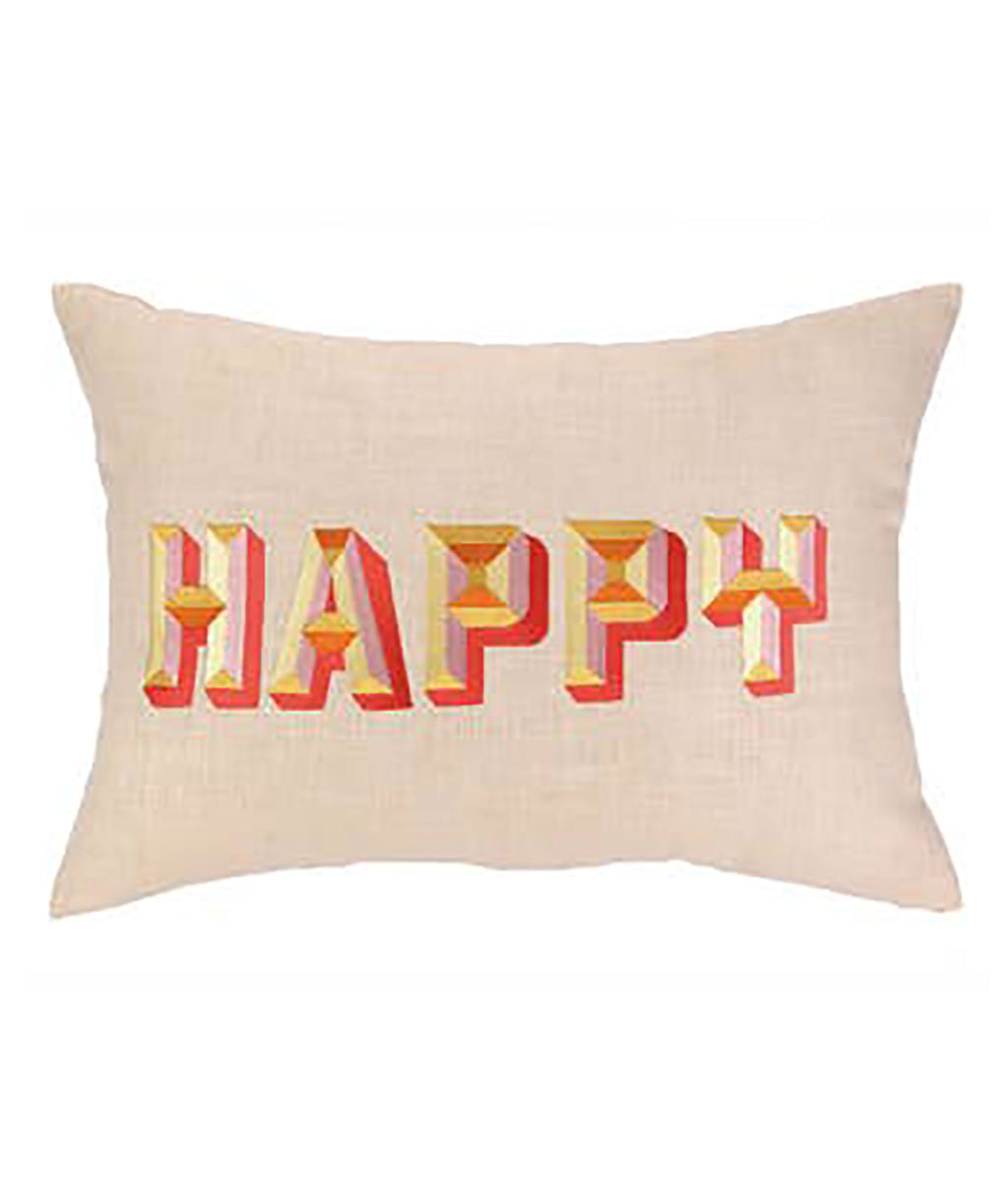 Happy Embroidered Pillow