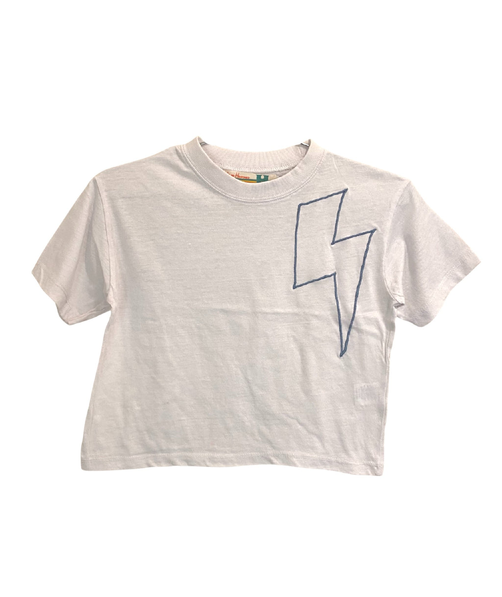 Vintage Havana Girls White Embroidered Bolt Tee