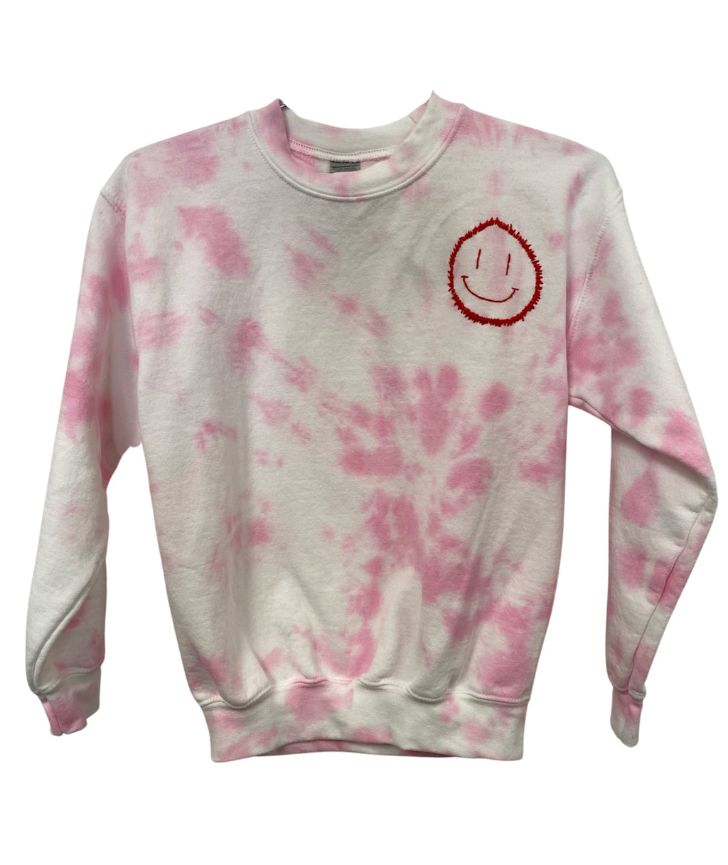 Clothes 4 a Cause Girls Pink and White Smile Tie Dye Embroidered Sweatshirt