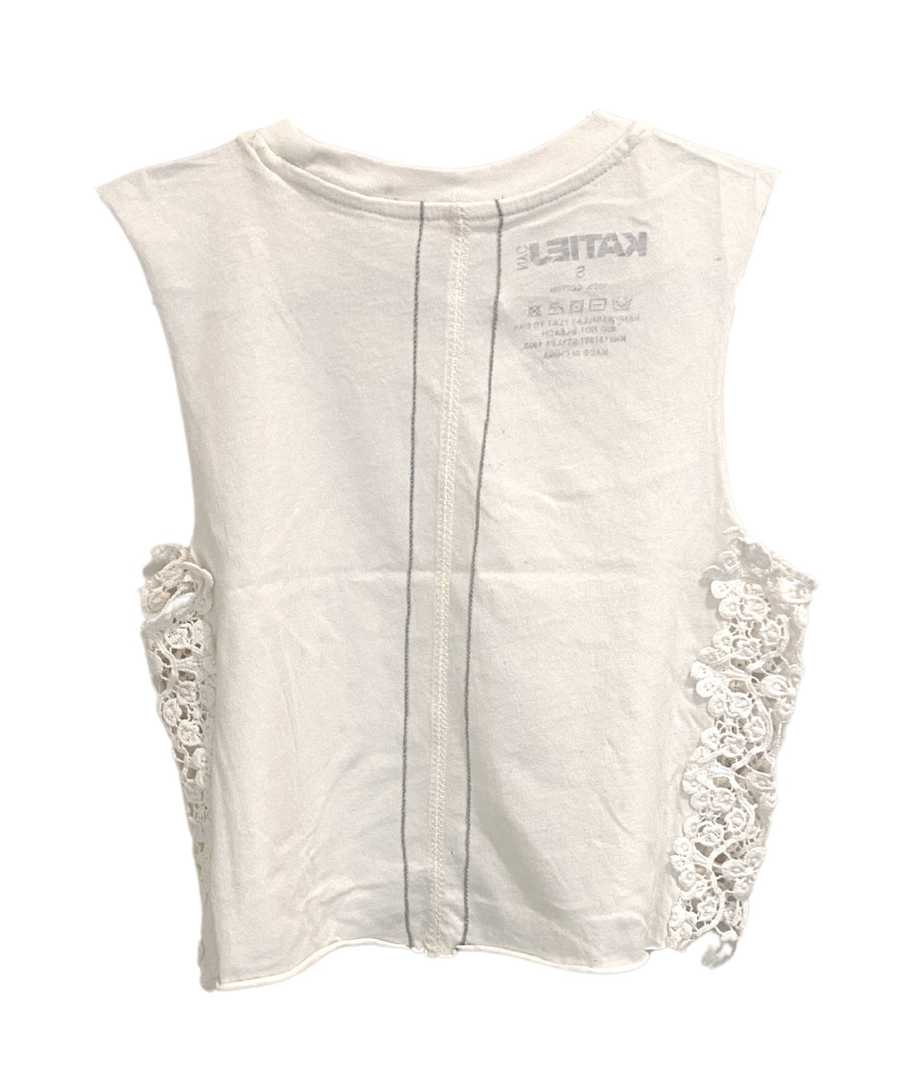 Katie J NYC Girls Lainie Natural Lace Crop Muscle Tee