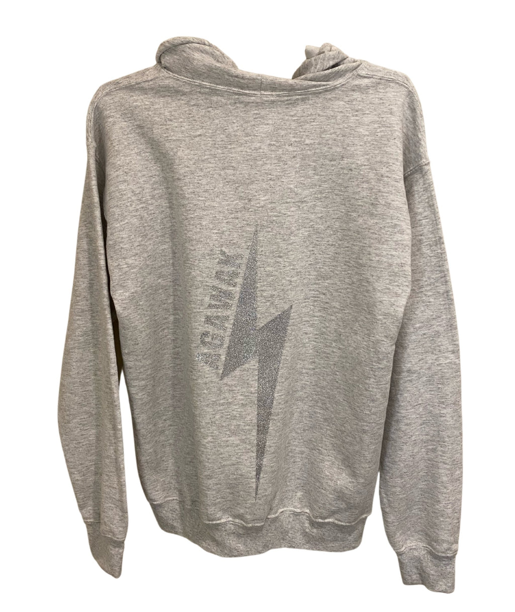Gildan Silver Lightning Bolt Zip Hoodie Light Grey