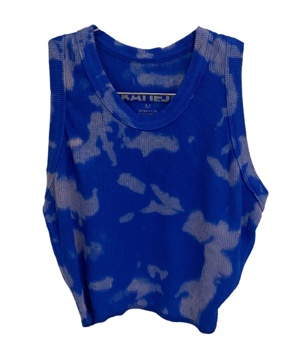 Katie J NYC Girls Livi Cobalt Blue Bleach Tank