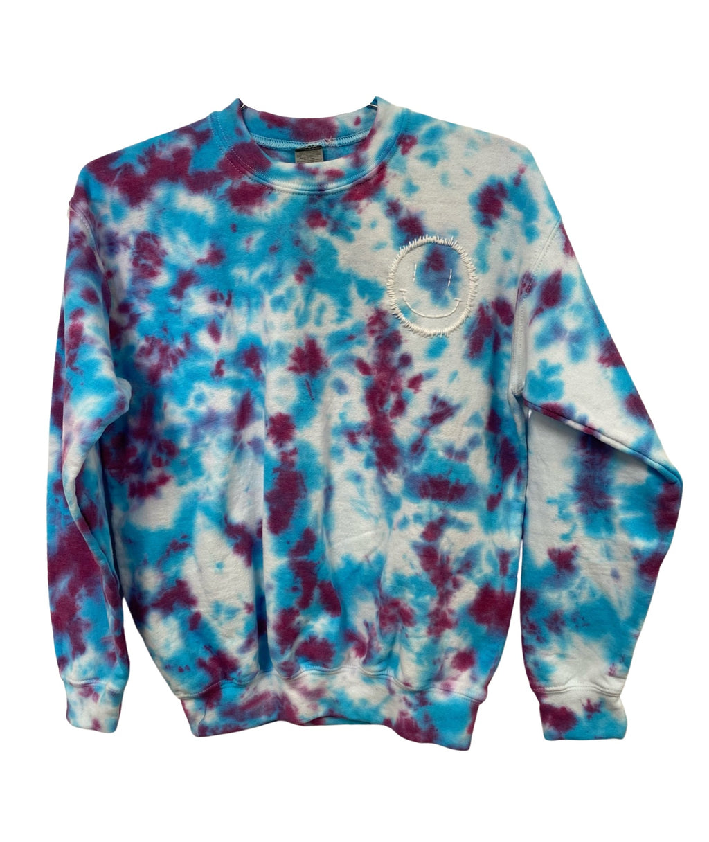 Clothes 4 a Cause Girls Purple and Blue Tie Dye Smile Embroidered Sweatshirt
