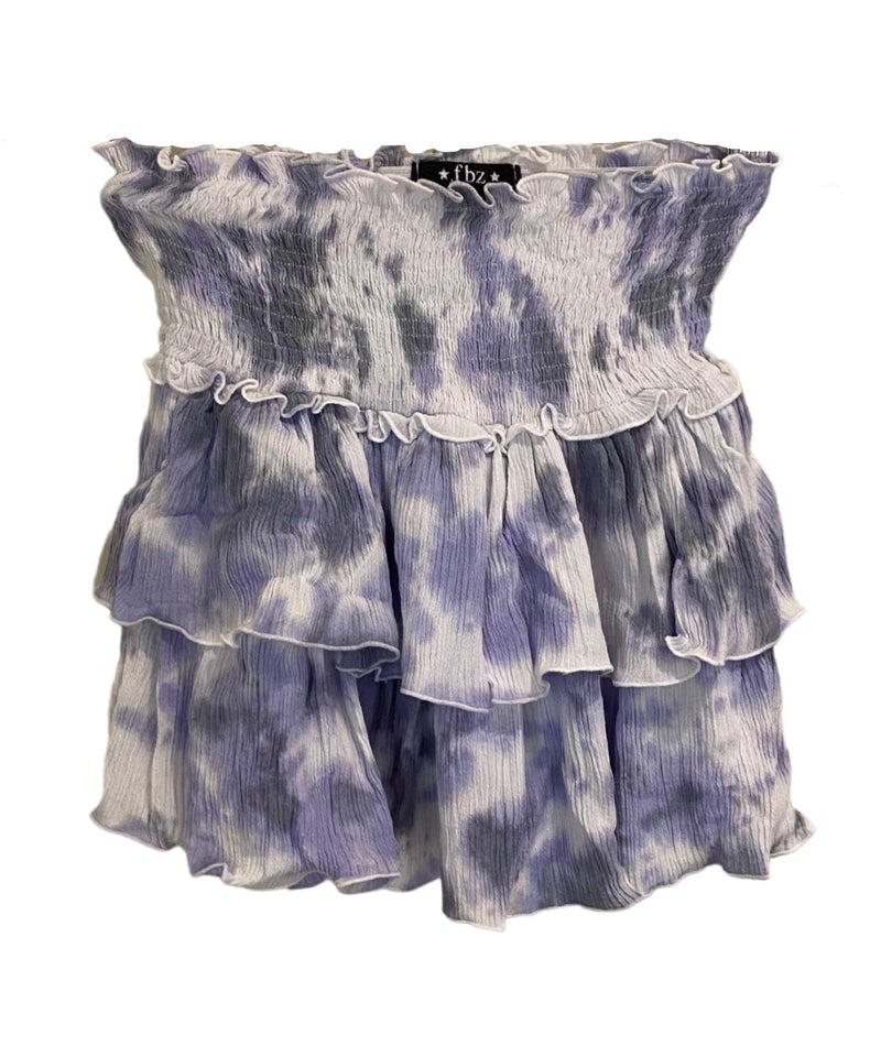 Flowers By Zoe Girls Tie Dye Tiered Skirt Purple/White