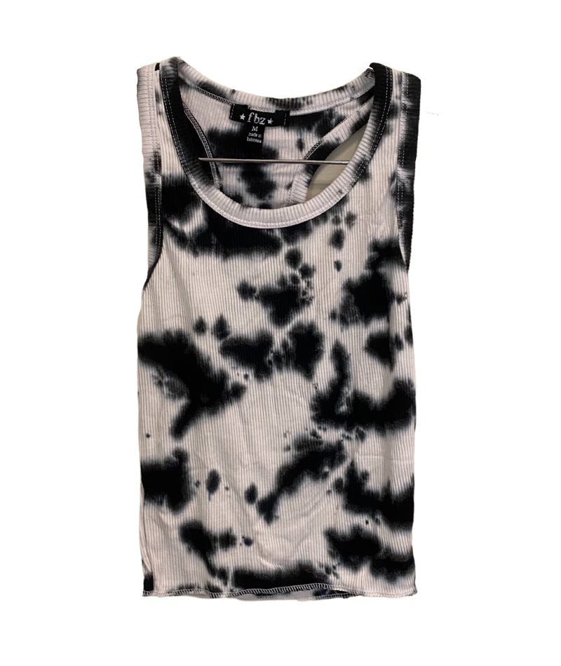 Flowers By Zoe Girls Tie Dye Tank Black/White