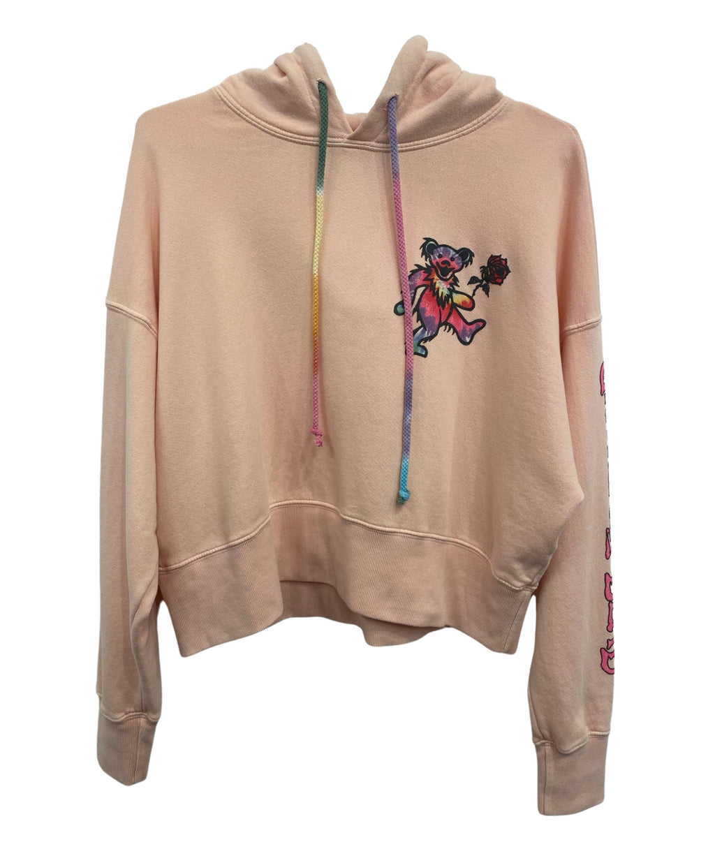 Daydreamer Women Grateful Dead Bear Tie-Dye Coral Shrunken Hoodie