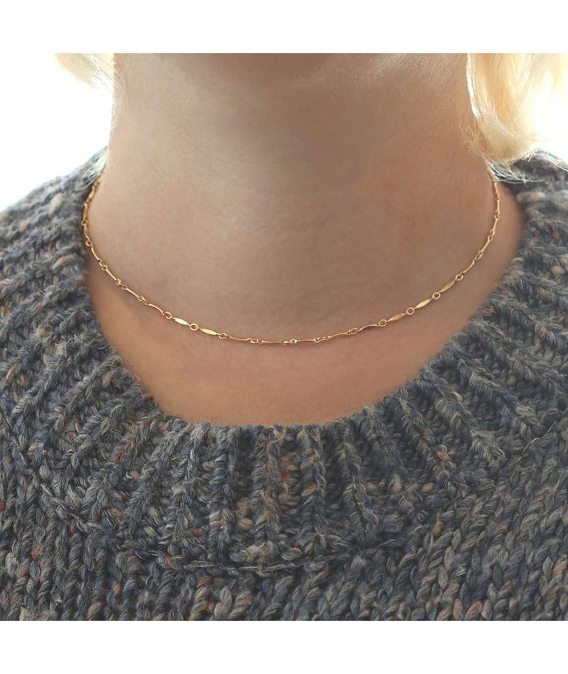 Kris Nations Gold Diamond Shape Bar Chain Choker