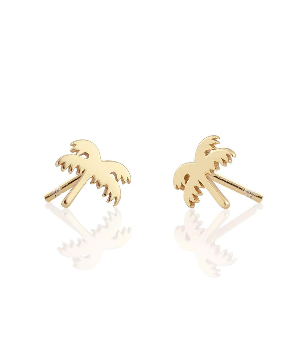 Kris Nations Gold Palm Tree Stud Earrings