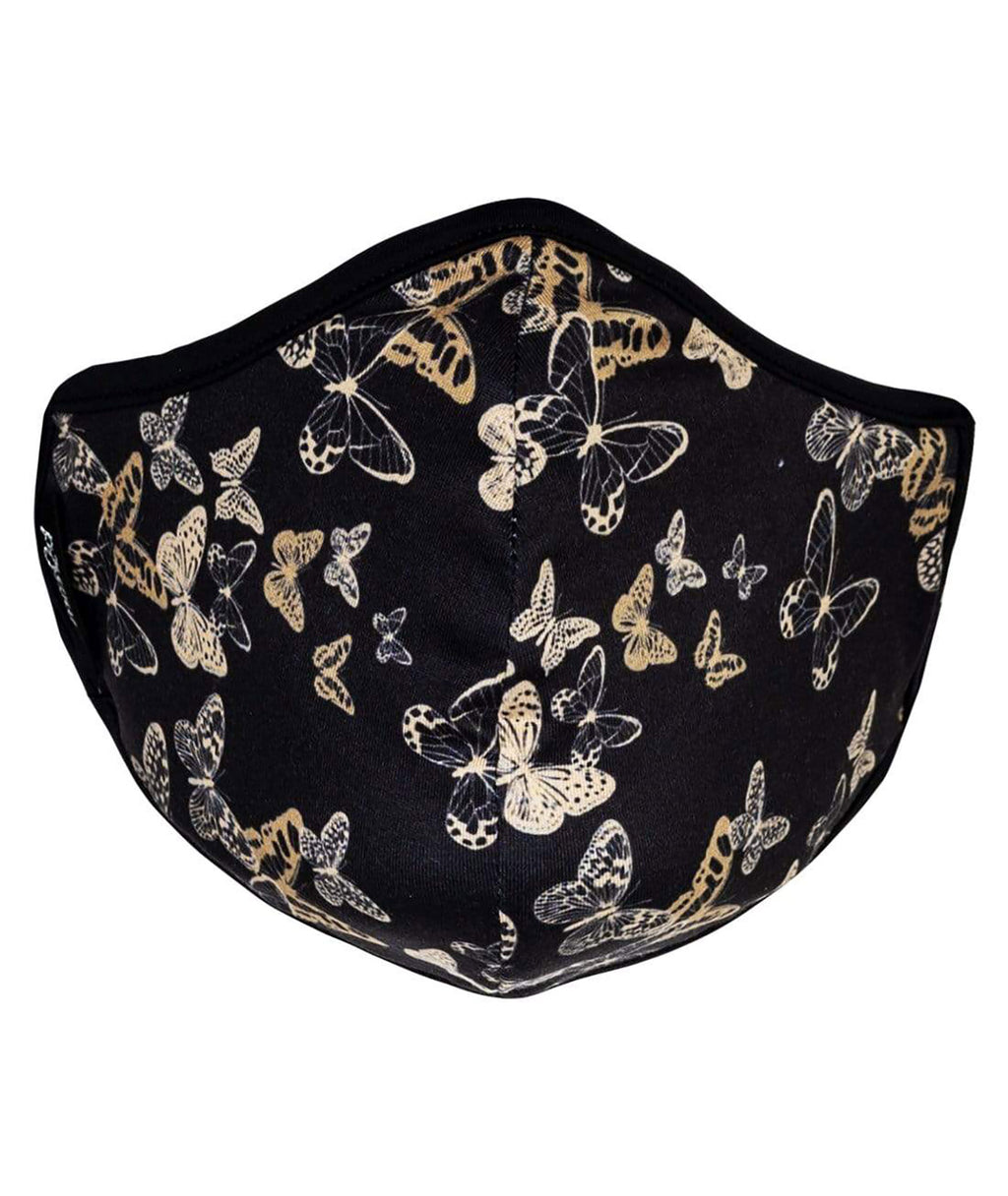 masQd Adults Mask With Filter Pocket Golden Butterfly