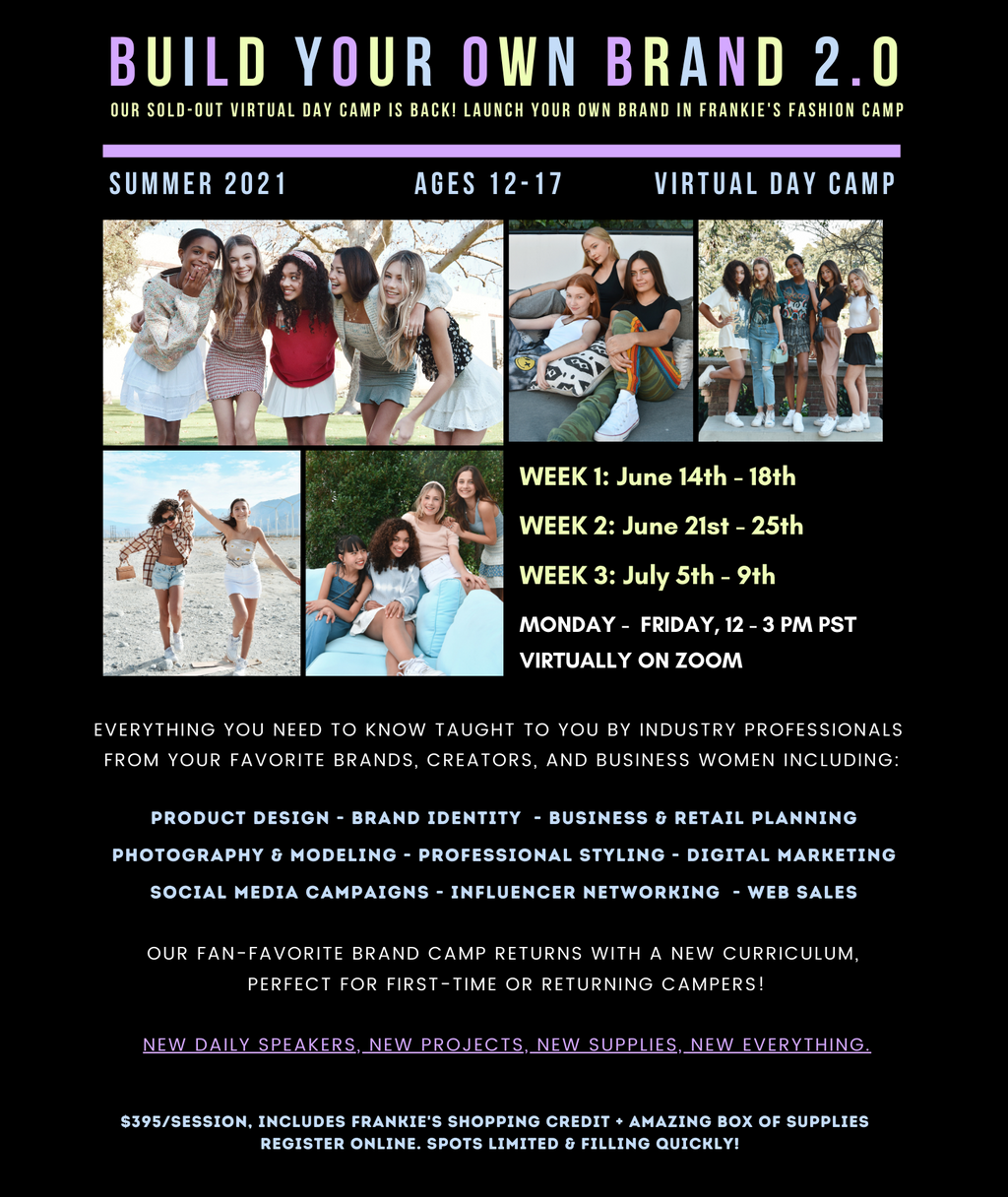Frankie's Virtual Fashion Entrepreneurs Master Lab (Ages 12-17) SUMMER 2021!