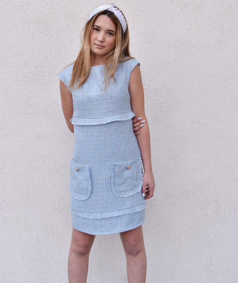 David Charles Girls Baby Blue Tweed Cap Sleeve Dress