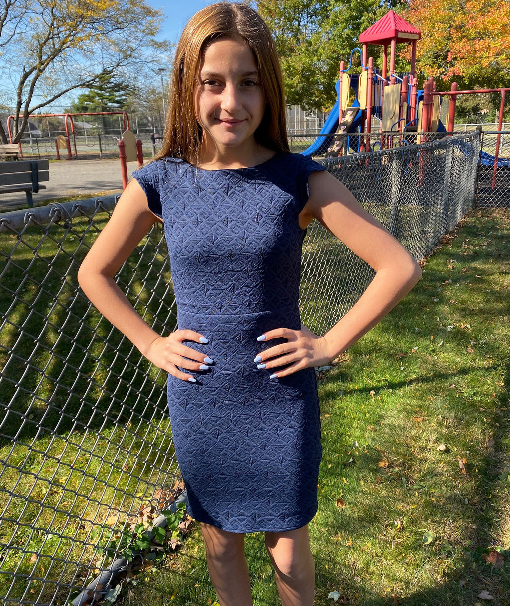 By Debra Girls Navy Flounce Sleeve Straight Dress