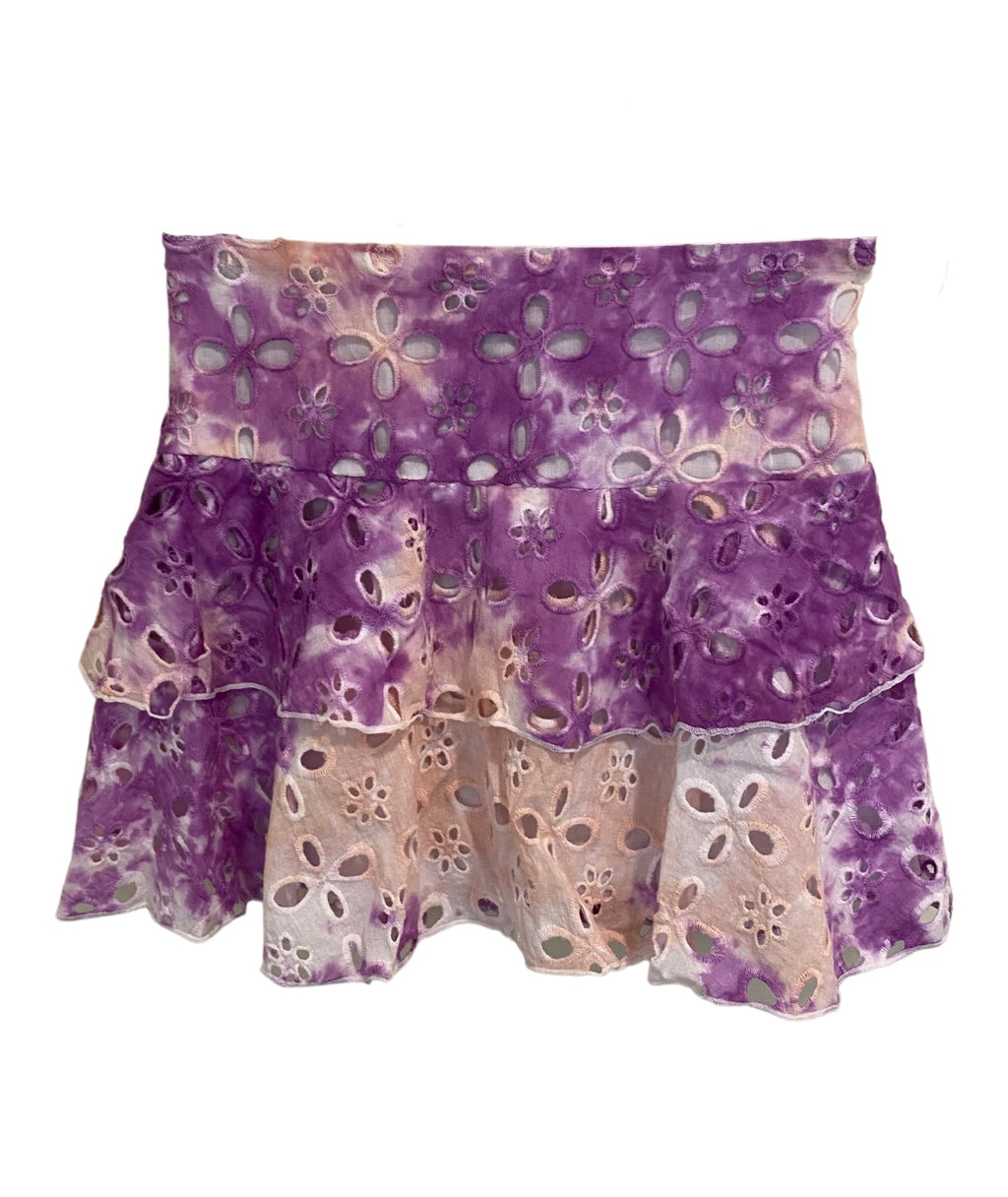 Flowers By Zoe Girls Tie Dye Tiered Skirt Purple/Pink