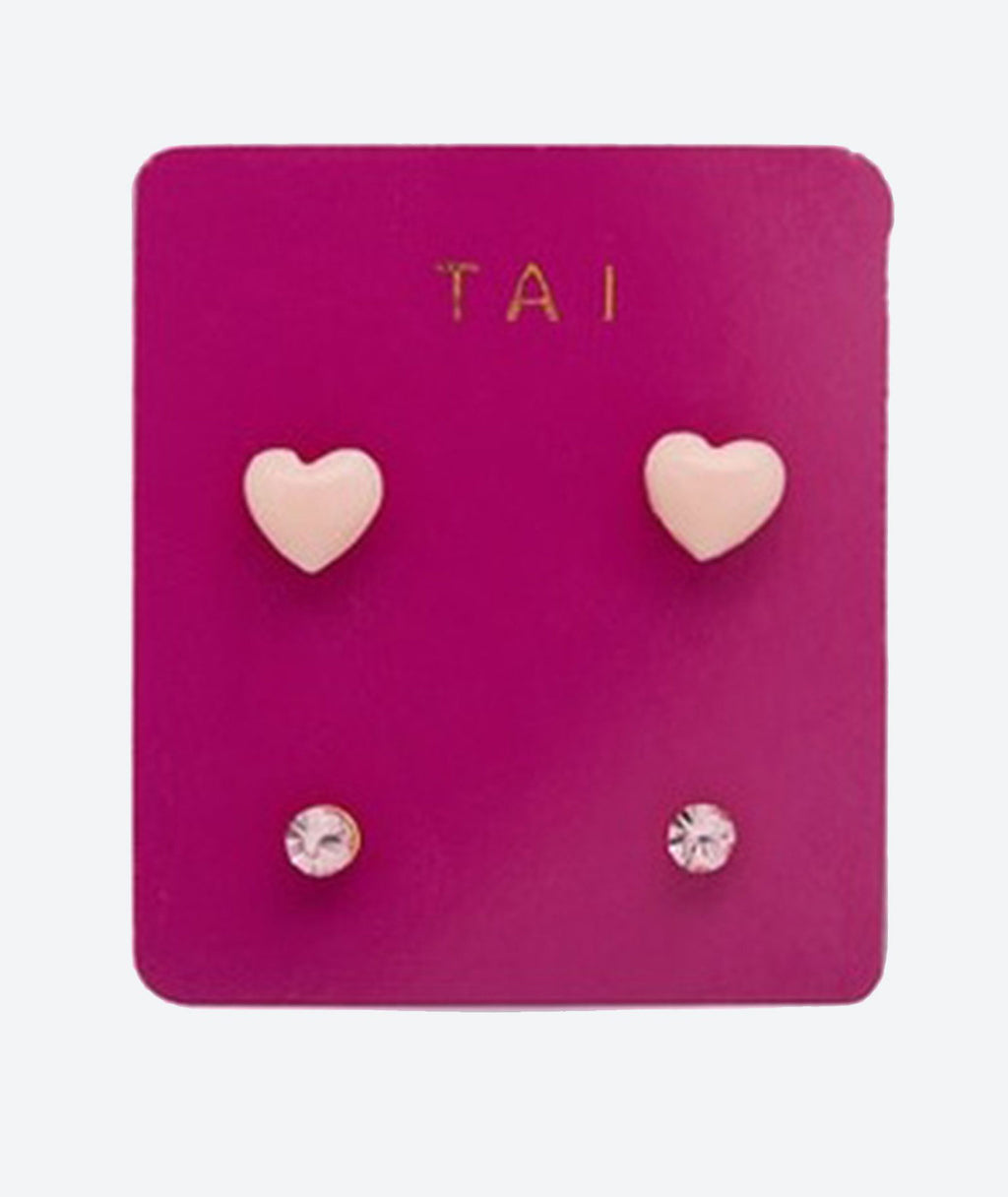 Tai Set of 2 Heart and Round Light Pink Studs