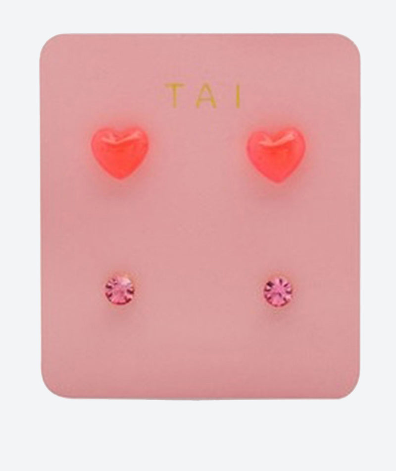 Tai Set of 2 Heart and Round Pink & Rose Studs