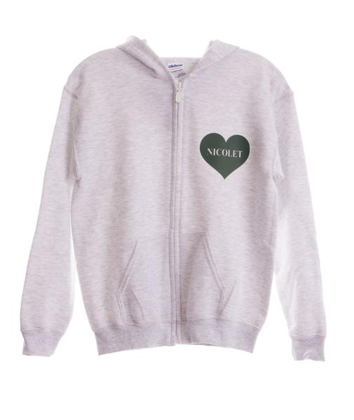 Adult Heart Camp Pocket Zip Hoodie Grey