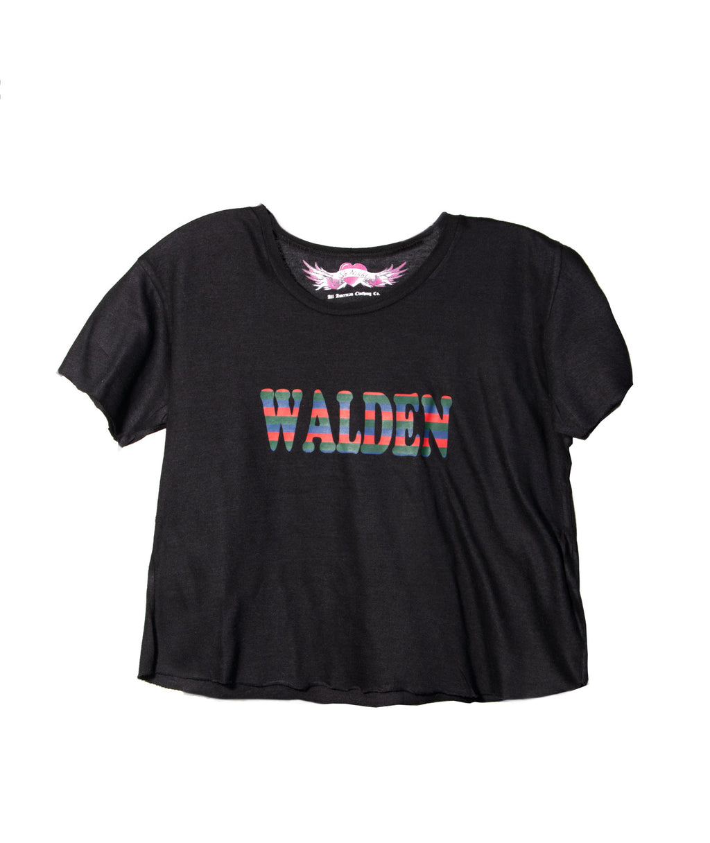 Custom Crop Tee Rainbow Name Black
