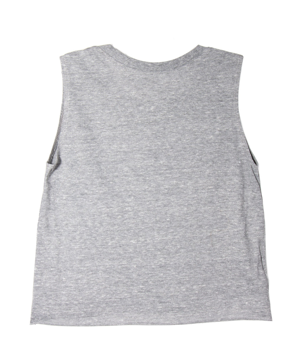 Custom Distressed Varsity Crop Tank Heather