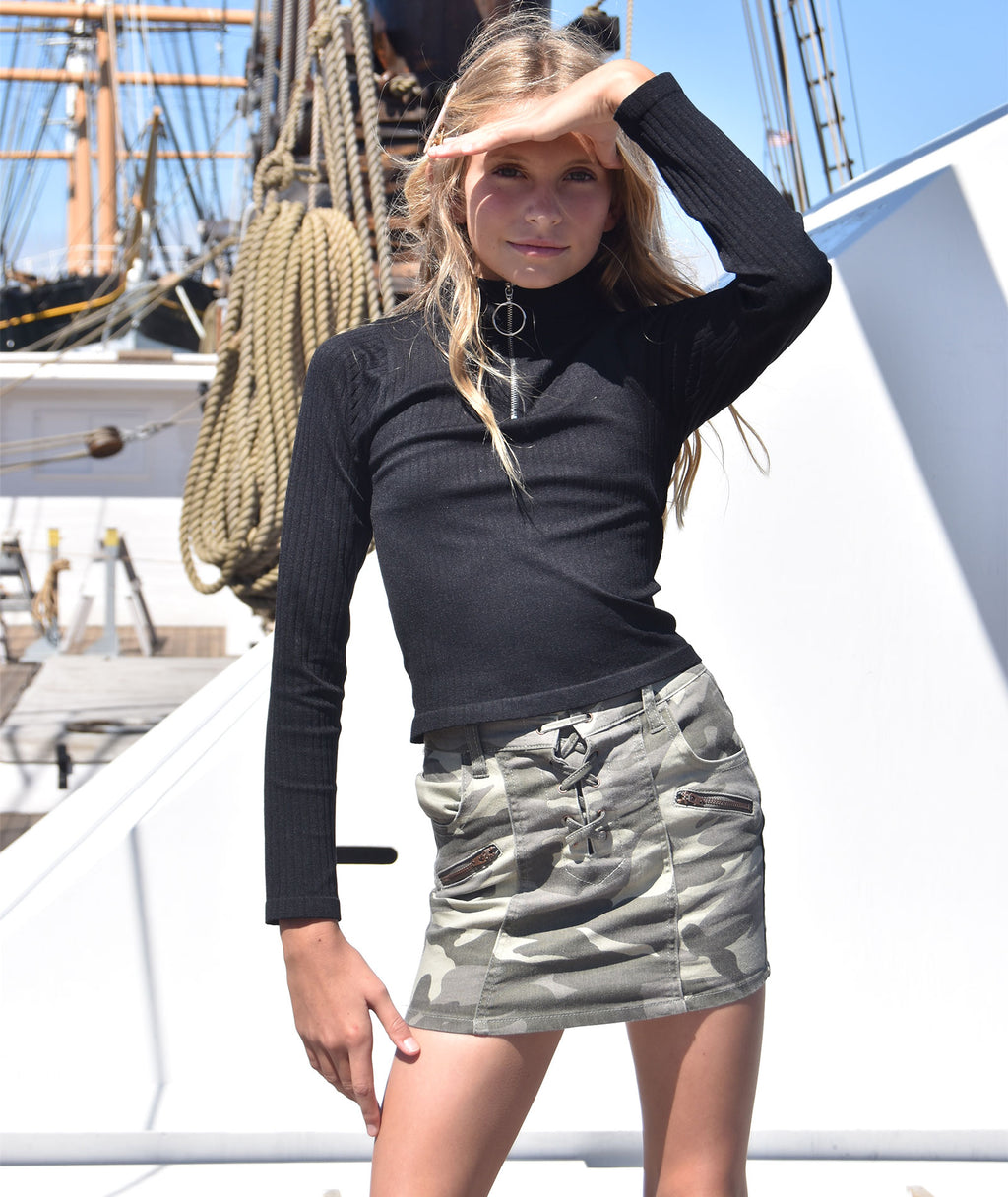 Pinc Premium Girls Camo Lace Up Skirt