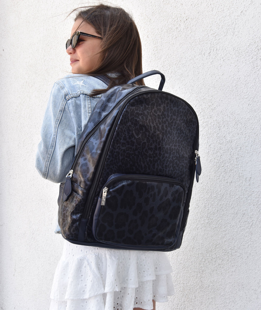 Bari Lynn Navy Leopard Backpack