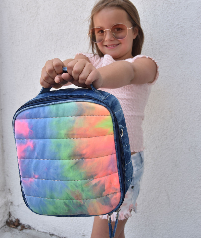 Bari Lynn Denim Tie-Dye Lunch Bag