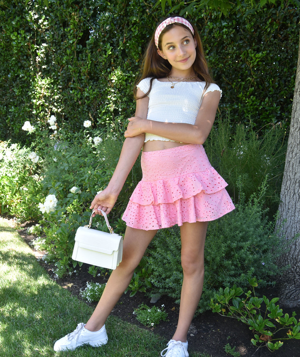Katie J NYC Girls Pink Lily Tiered Eyelet Skirt