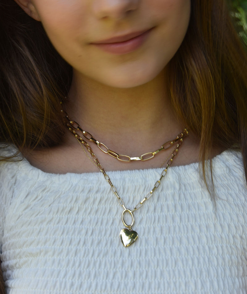 Fashionista J Heart Charm Double Chain Gold Necklace