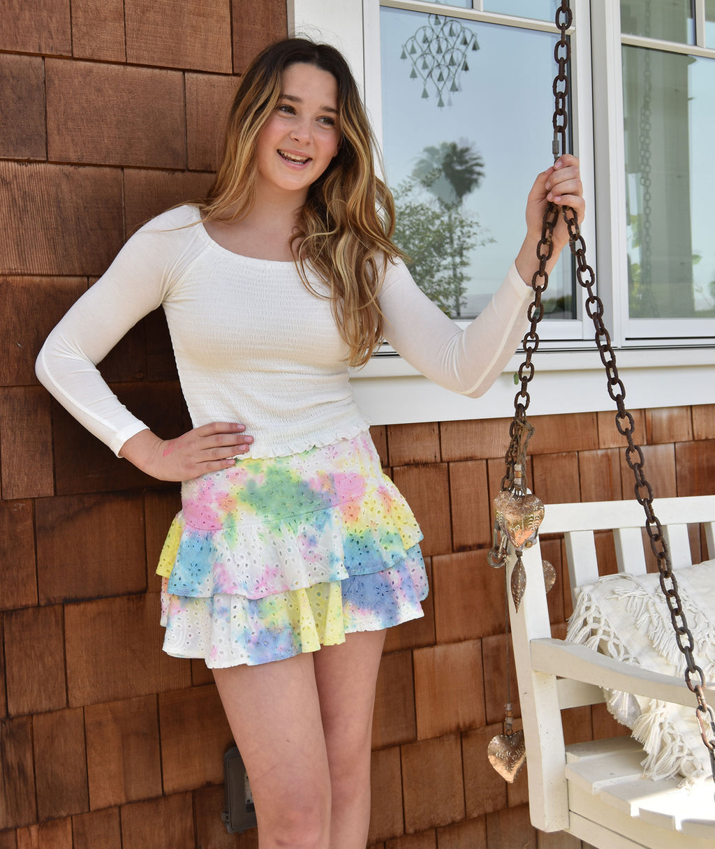 Katie J NYC Girls Tie-Dye Lily Tiered Eyelet Skirt