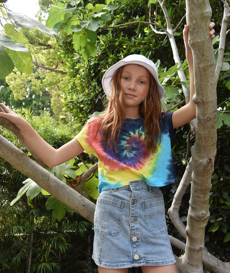 Katie J NYC Girls Fearless Primary Tie-Dye Crop Tee