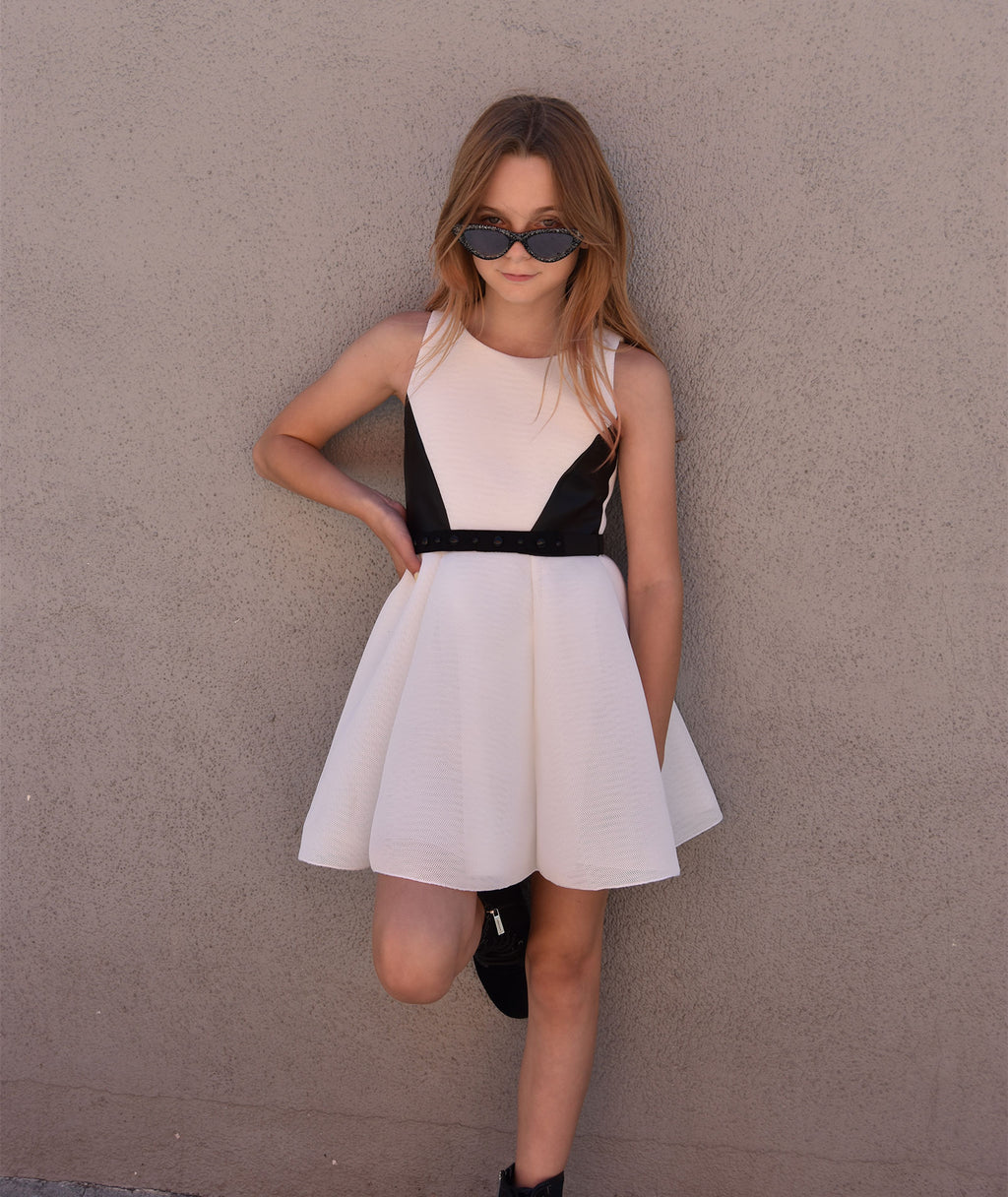 Zoe Ltd. Girls White Black Leather Dress