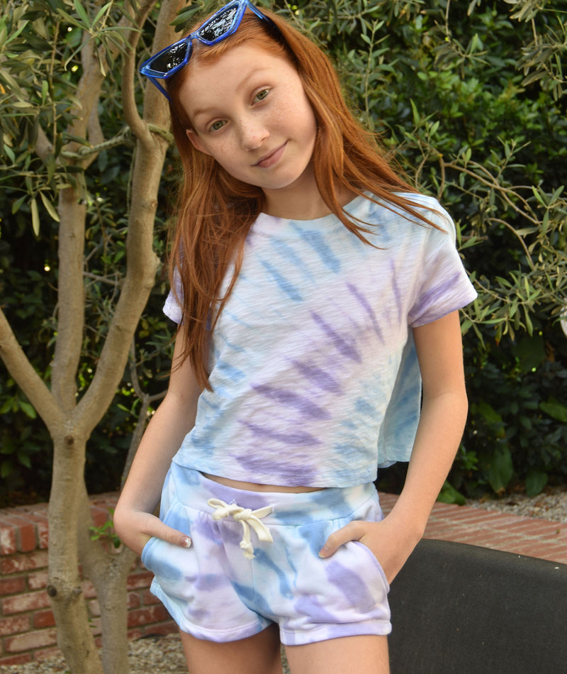 Katie J NYC Girls Frenchie Pastel Tie-Dye Shorts